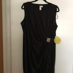Dresses & Skirts - Black wrap dress with gold buckle detail
